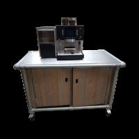 Koffiemachine Melitta volauto op steigerhout buffet, 230V