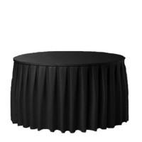 Tafelhoes zwart laken en rok aaneen, geplooid, Ø 180 cm.