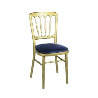 Stoel Napoleon goud, met blauwe zitting
