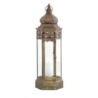 Windlicht oosterse lantaarn, goud kleurig